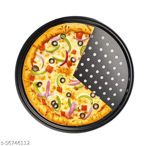 Xacton Pizza Crisper Tray | Carbon Steel Non-Stick Bakeware | Round Shape Pan | Used in Microwave Oven, OTG | Durable and Solid to Use | Stain, Scratch and Rust Resistant | Baking Tools - Black