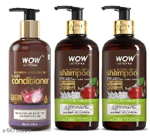 WOW Skin Science Onion Conditioner With Red Onion Seed Oil Extract,  300 ml &WOW Apple Cider Vinegar No Parabens & Sulphate Shampoo, 300mL (pack of 3 )900ml