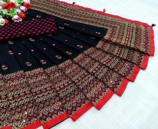 JUTE COTTON With Lace Border & Mirror  Work ATTRACTIVE LACE WOMEN SAREE