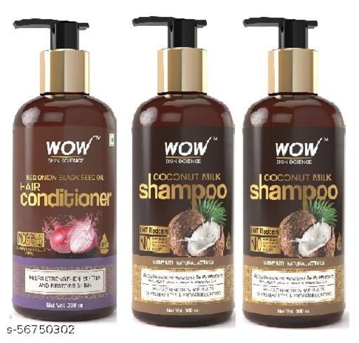 WOW Skin Science Onion Conditioner With Red Onion Seed Oil Extract,  300 ml &WOW Coconut Milk Shampoo, 300ml (pack of 3)