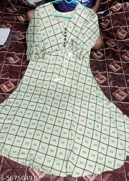 Rayon Check Print Long Trendy Flared Kurti