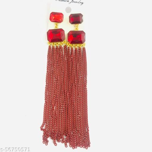 Double pearls stylish drop earrings for girls