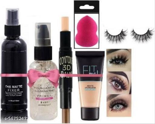 Hydrating Face Makeup Fixer & Soft Makeup Blender,Oil primer  (6 Items in the set)