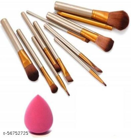 Naked 3 Makeup Brushes - Set Of 12 with Beauty Blender (Shape and color may be vary)  (2 Items in the set)