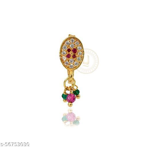 American Diamond, Red Stone Meenakari Nose Pin/Nath