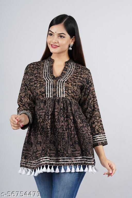 womens Cotton Printed top daily use top partywear top offical top long top festival wear top Gotta Work top