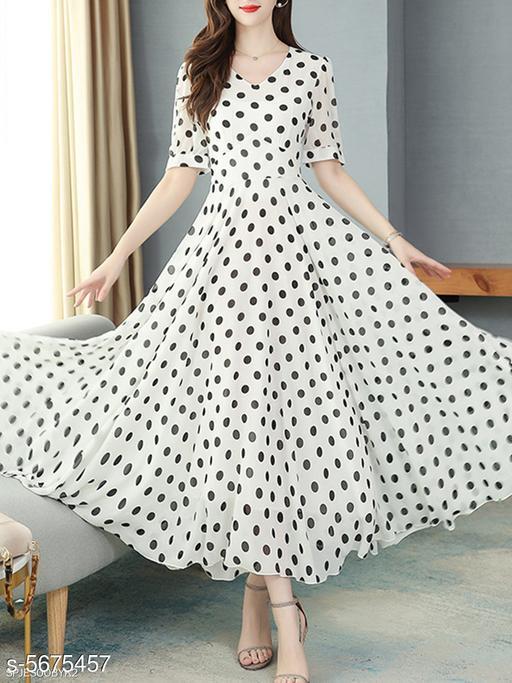 Women's Printed White Chiffon Dress