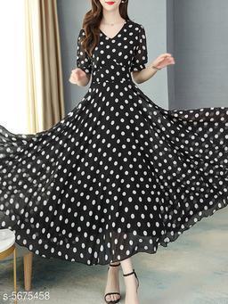 Women's Printed Black Chiffon Dress