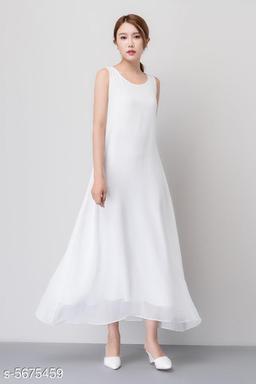 Women's Solid White Chiffon Dress