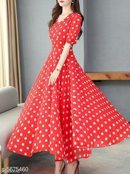 Women's Printed Red Chiffon Dress