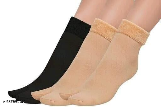 Soft & Cozy Solid Winter Thick Woolen Velvet Women Thumb Socks (Pack of 3 Pairs)