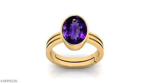 9.25 Ratti 8.00 Carat Amethyst Ring Katela Ring Original Certified Natural Amethyst Stone Ring Astrological Birthstone Gold Plated Adjustable Ring Size 16-28 for Men and Women,s