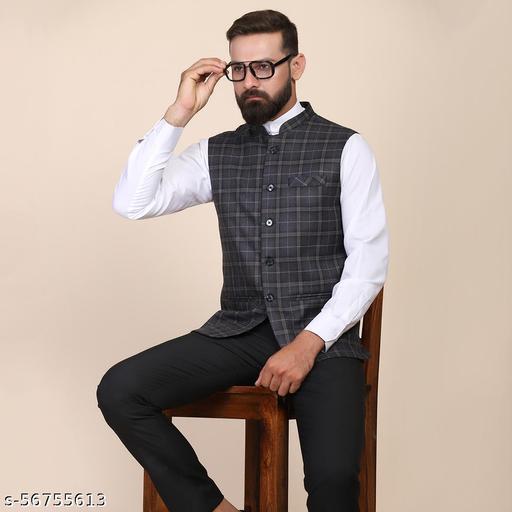 TAHVO Men Tweed Nehru Ethnic Jacket
