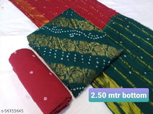 V Shape jacquard Bandhani Suits & Dress Materials