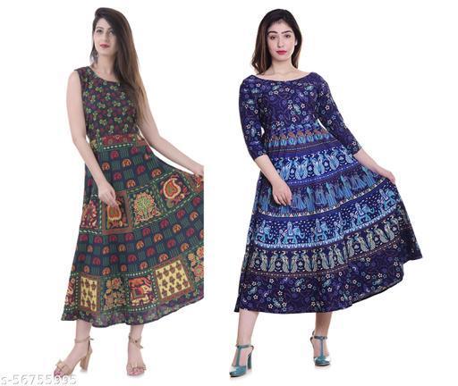 PRESENT,Nareda Fashion 100% Cotton Jaipuri Printed Middi