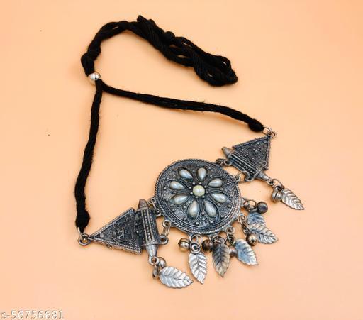 black polish chokar necklace