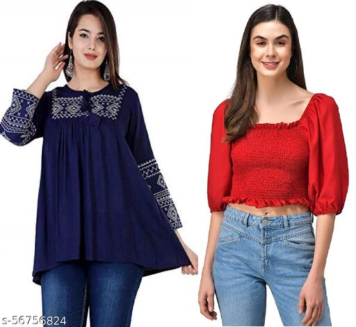 WESTERN WEAR, BALLOON SLEEVES TRENDY CROP TOP AND REGULAR EMBROIDERED TOP FOR WOMEN AND GIRLS- COMBO(2)