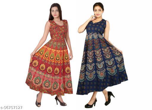 Nareda Fashion 100% Cotton Jaipuri Printed Middi