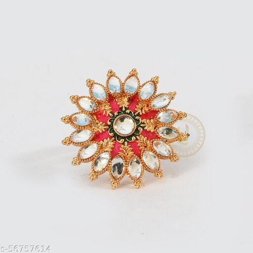 Kundan With Meenakari Adjustable Ring