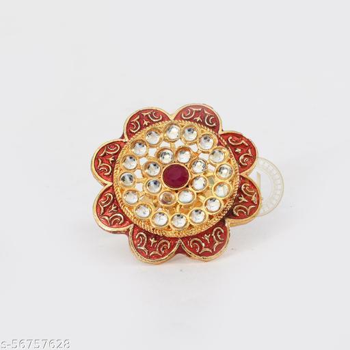 Kundan With Red Onyx High Quality Adjustable Meenakari Ring