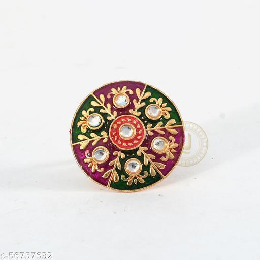 Kundan With Pearl High Quality Adjustable Meenakari Ring