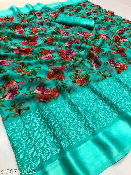 Beautiful Embroidered Printed Chiffon Saree With Satin Border