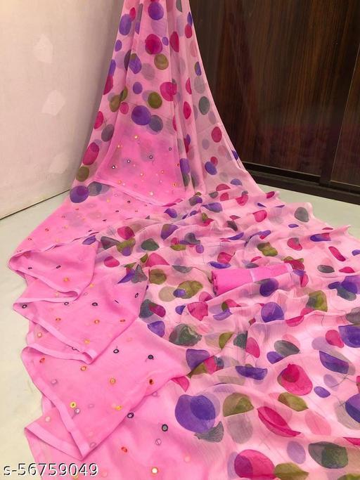 Beautiful Printed Chiffon Saree with Mirror Work