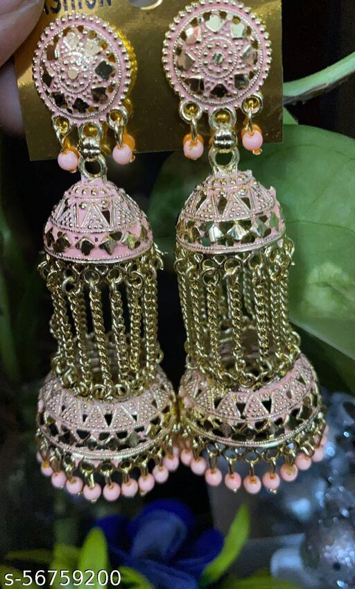 traditional long chain pink coloured jhumkis for wedding and festive purposes