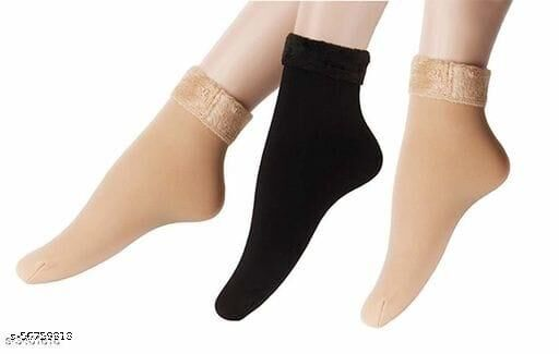 Comfy Woolen Velvet Women Non-Thumb Socks (Pack of 3 Pairs)