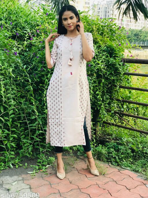 Trendy Printed Straight Cotton casual kurti