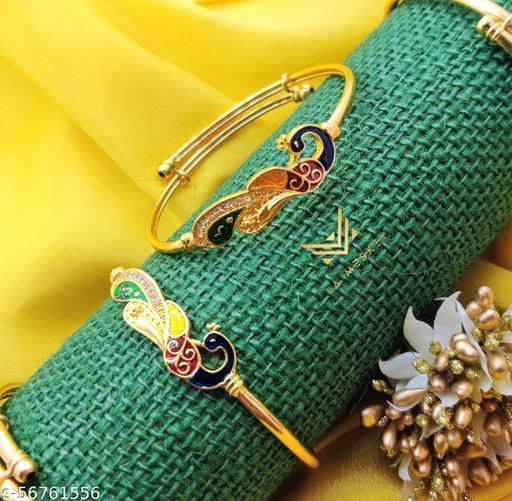 PURE GOLD PLATED PEACOCK ENEMELLED ADJUSTABLE KADLI BRACELET KANGAN FOR GIRLS AND WOMEN