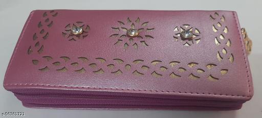 Woman wallet zip around Baby pink