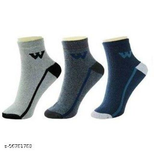 Honze Men's Towel Ankle Length Cotton Socks (Multicolored, Free Size) Pack of 3