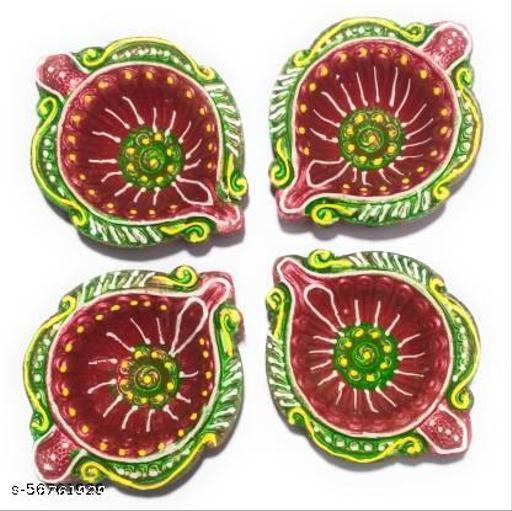 Colour Full Diya For Puja / Clay Diya / Diya Holder Decorative / Diya Lamps For Pooja / Diwali Gifts and Decoration Mitti Diya for Diwali Decoration ( Set of 6 Handmade ) ( Made Of India )