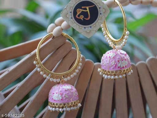 Meenakari Lotus Jumki Earrings For Womens and Girls