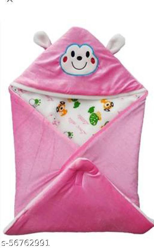 Single Hooded Baby Blanket  (Fur, Pink)