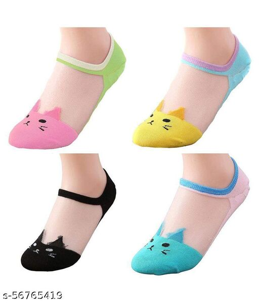 HF Roopsi (Pack of 4 Pair) Womens Transparent Ankle Length Ultra thin Low Cut Loafer socks