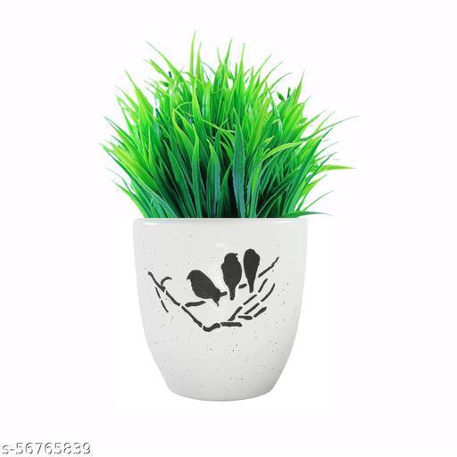 DOS INTERIO Ceramic Bird Planter - Glossy White with Artificial Grass