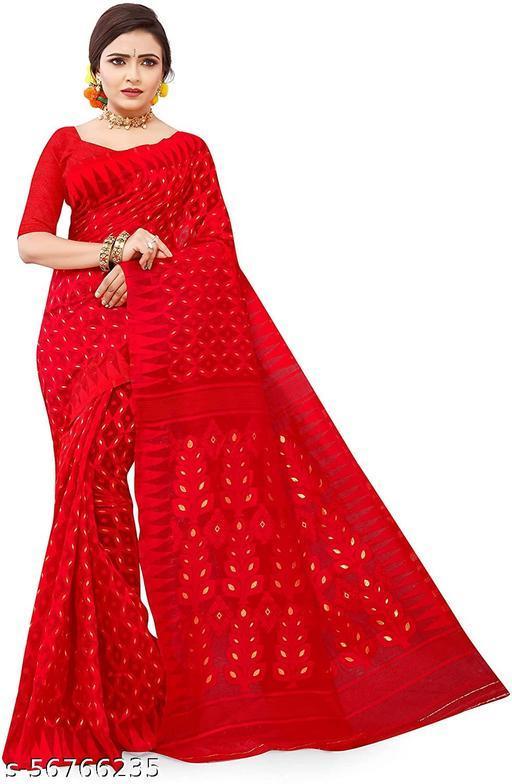 Aishwarya Sarees Women's Minakari Soft Dhakai Jamdani Cotton Silk Saree With Blouse Piece