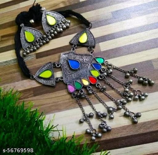 Black Silver Oxodised Afghani Choker Necklace Set