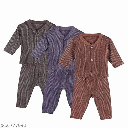 SEE FIT Infants Soft Fabric Thermal Front Open Top and Pyjama