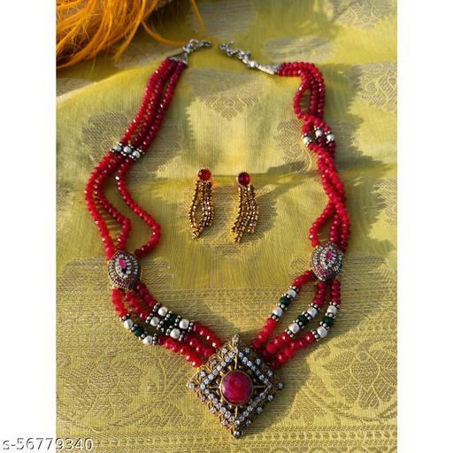 Ethnic Red beads Raani haar set with earrings Jewellery Set