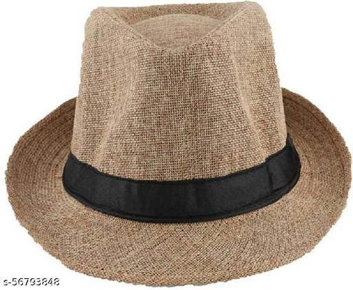 BHAGWATI Store Men's Brown Fedora Hat Cap
