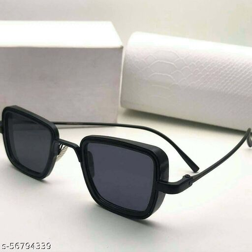 KINGSON Metal Body Square Inspired From Kabir Singh Men's and Boy's Black Sunglass