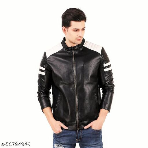 Mozaan Black and White Design Faux leather Jacket For Man