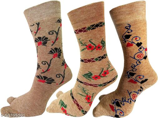 Women's Warm Terry Wool Thick Thumb Socks (Beige, Free Size) Pack of 3 Pairs