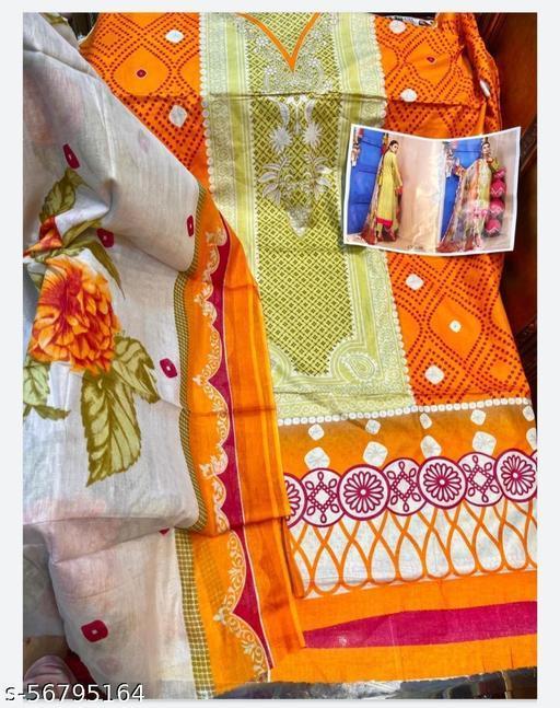 women unstiched lawn cotton digital print dress materialwith cotton dupatta