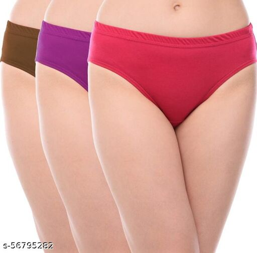 RAYYANS PACK OF 3 MID RISE MULTICOLOR PANTIES