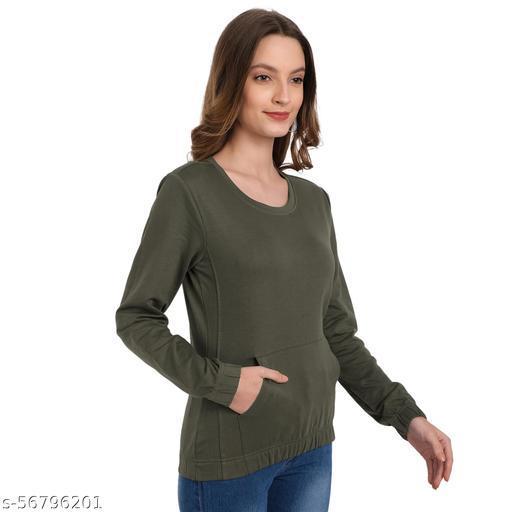 Kabuki Solid Women Olive Sweatshirt for Winter