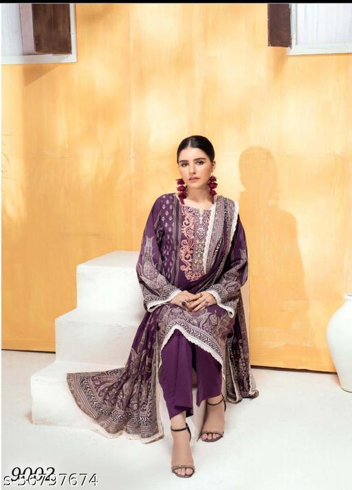 Lawn Cotton Karachi Printed Suit With Lawn Cotton Dupatta